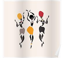 African dancers silhouette. Poster
