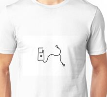 music by mp3 and earphone Unisex T-Shirt