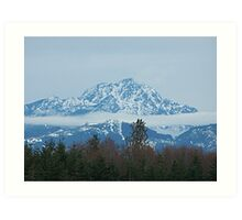 Cloud Scarf Around The Olympic Mountains Art Print