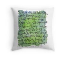 Matthew 11:28-30 Watercolor Print Throw Pillow