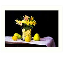 Peruvian Lilies With Lemons And Pears Art Print