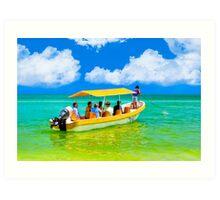 Hoist The Anchor - Boat in the Gulf Waters near Celestún Art Print