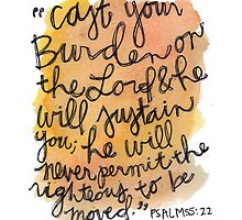 Psalm 55:22 Watercolor Print by Bumble & Bristle