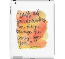 1 Peter 5:7 Watercolor Print iPad Case/Skin