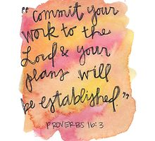 Proverbs 16:3 Watercolor Print by Bumble & Bristle