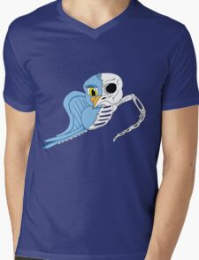 Cartoon Skeleton Bird Mens V-Neck T-Shirt