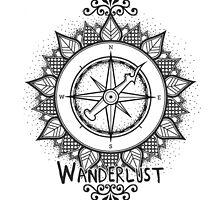 Wanderlust Compass Design - Black by Mel Barrett