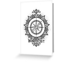 Wanderlust Compass Design - Black Greeting Card