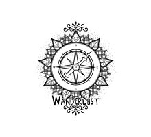 Wanderlust Compass Design - Black Photographic Print