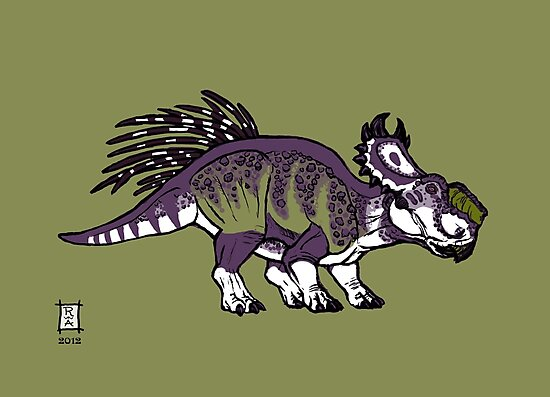 Purple and Green Pachyrhinosaurus by Raven Amos
