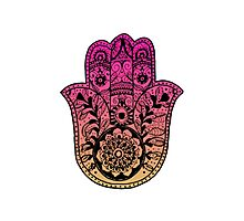 Pink Orange Ombre Hamsa Photographic Print