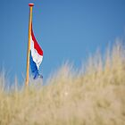 Dutch Flag beyond sand dune by yaytractor