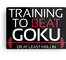 Training to beat Goku - Krillin - White Letters Metal Print