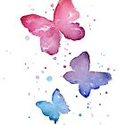Watercolor Butterflies by OlechkaDesign