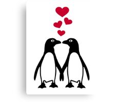 Penguin red hearts love Canvas Print