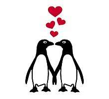 Penguin red hearts love Photographic Print