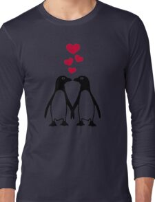 Penguin red hearts love Long Sleeve T-Shirt