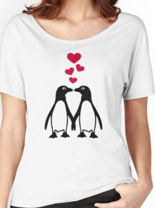 Penguin red hearts love Women's Relaxed Fit T-Shirt
