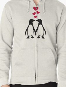 Penguin red hearts love Zipped Hoodie