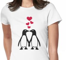 Penguin red hearts love Womens Fitted T-Shirt