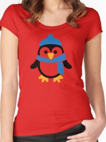 Penguin winter scarf Women's Fitted Scoop T-Shirt
