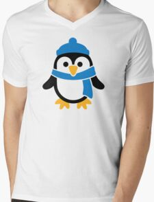 Penguin winter scarf Mens V-Neck T-Shirt