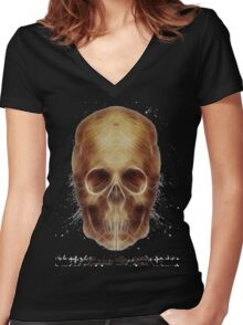 Leonardo Skull  Women's Fitted V-Neck T-Shirt