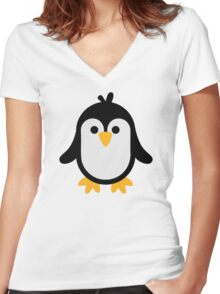 Funny penguin Women's Fitted V-Neck T-Shirt