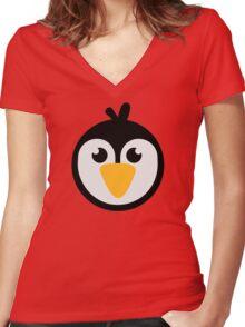 Penguin head Women's Fitted V-Neck T-Shirt
