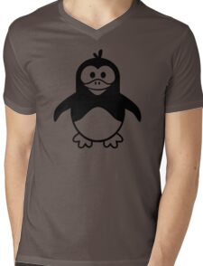 Black penguin Mens V-Neck T-Shirt