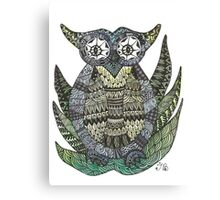 Watercolor and Ink Owl Canvas Print