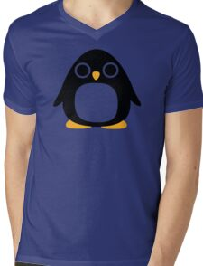 Comic penguin Mens V-Neck T-Shirt