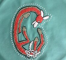 Embroidery Fox Letter C by Donna Huntriss
