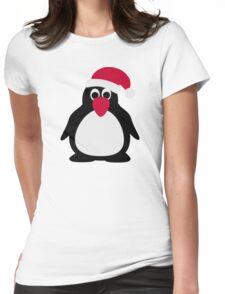 Santa penguin Womens Fitted T-Shirt