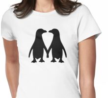 Penguin couple love Womens Fitted T-Shirt
