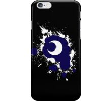 Lunar Splat (white paint, black background) iPhone Case/Skin