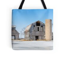 Snowy Farm Scene Tote Bag