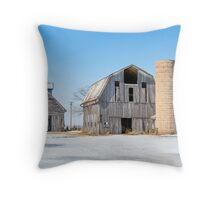 Snowy Farm Scene Throw Pillow
