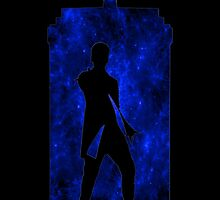 12th Doctor Silhouette Against TARDIS (true blue) by shaneisadragon