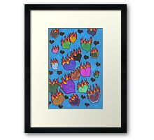 Flaming Hearts Framed Print