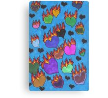 Flaming Hearts Canvas Print