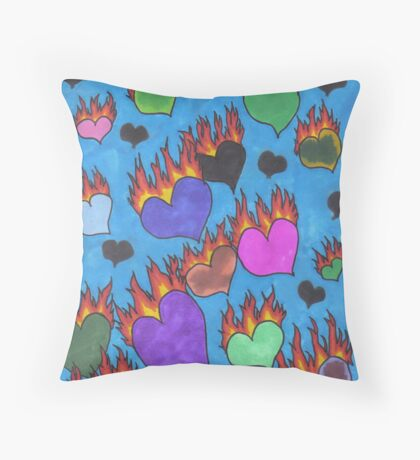 Flaming Hearts Throw Pillow