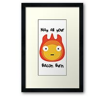 Howls moving castle - Calcifer - May all your bacon burn. Framed Print