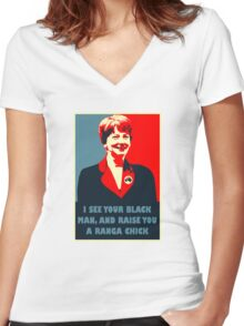 Prime Ministerial Propaganda Women's Fitted V-Neck T-Shirt