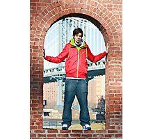 Boy with Manhatten Bridge in Background Photographic Print
