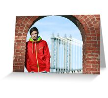 Boy with Manhatter Bridge in the background Greeting Card