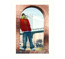 Guy with Manhatten Bridge in New York Art Print