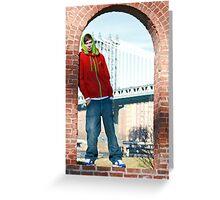 Guy with Manhatten Bridge in New York Greeting Card