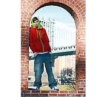 Guy with Manhatten Bridge in New York Photographic Print