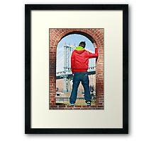 Boy looking at Manhatten bridge NYC Framed Print